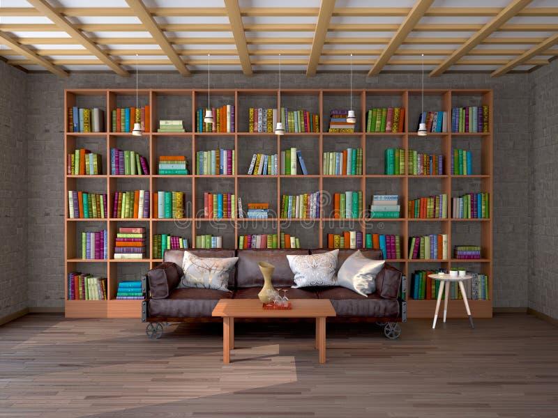 Het binnenland van woonkamer in zolder met boekenrekken royalty-vrije illustratie