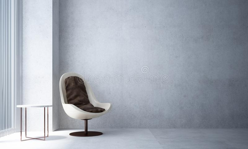 Het binnenlandontwerp van minimale woonkamer en concrete muur vector illustratie