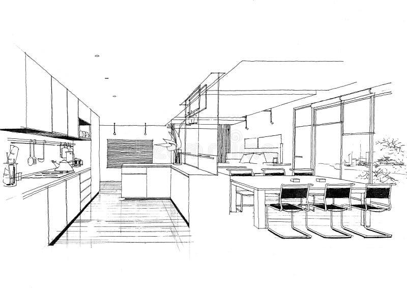 Het binnenlandse landschap van de architectuurbouw sketc royalty-vrije illustratie