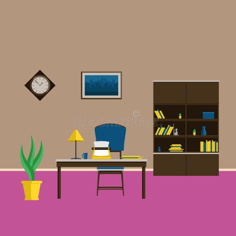Het binnenlandse midden van de eeuw van de kabinetsstijl Een volledige reeks meubilair en decoratie voor de kabinets Vector vlakk royalty-vrije illustratie