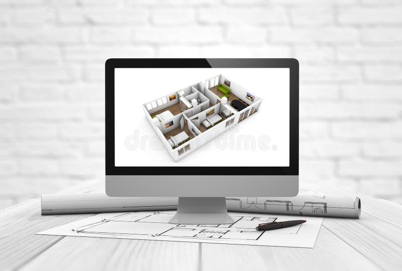 Het binnenlandse ontwerp van de architectuurstudio vector illustratie