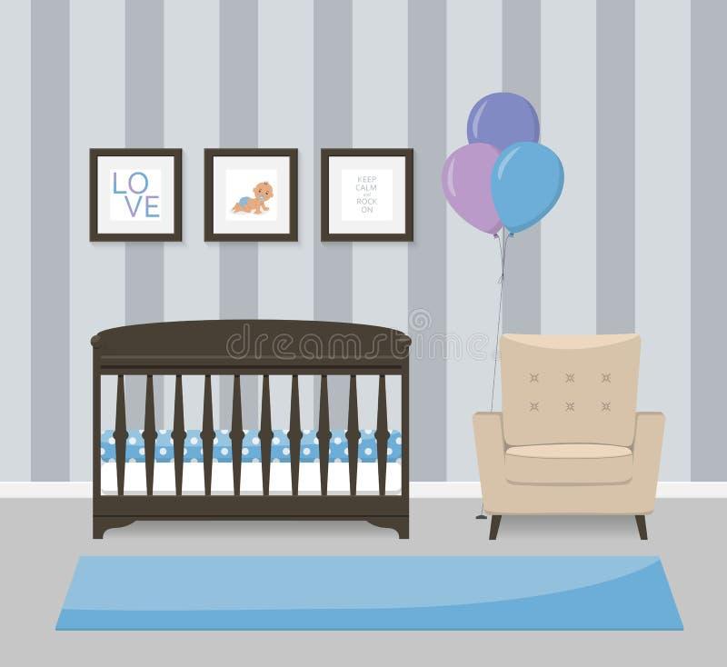 Het binnenlandse ontwerp van de babyruimte in blauwe kleuren Voederbak, leunstoel en ontworpen beelden Vlakke stijl vectorillustr royalty-vrije illustratie