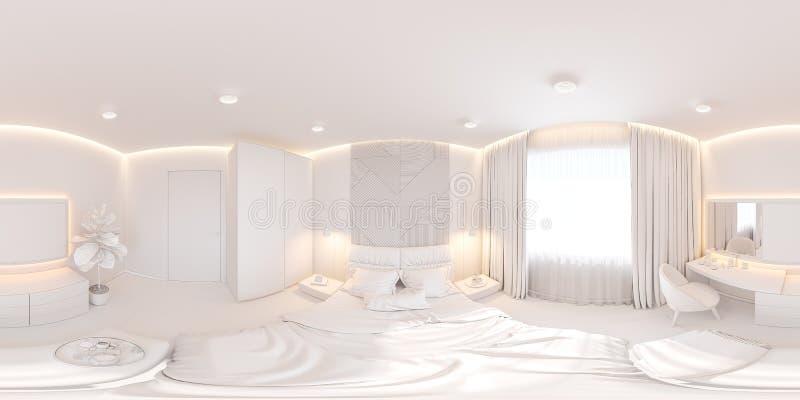 Het binnenlandse ontwerp van de hoofdslaapkamer in de Skandinavische stijl Naadloos binnenlands panorama 360 3D Illustratie stock illustratie