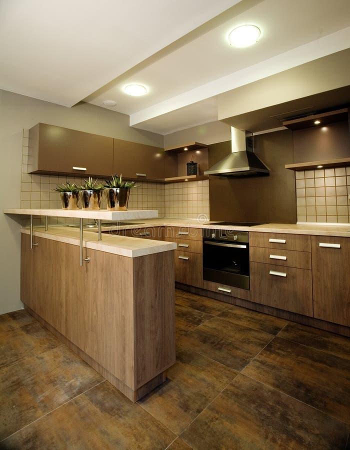 Het binnenlandse ontwerp van de keuken. stock foto