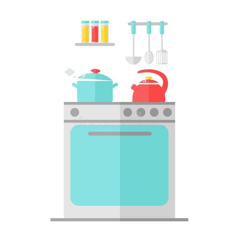Het binnenlandse ontwerp van de keuken stock illustratie