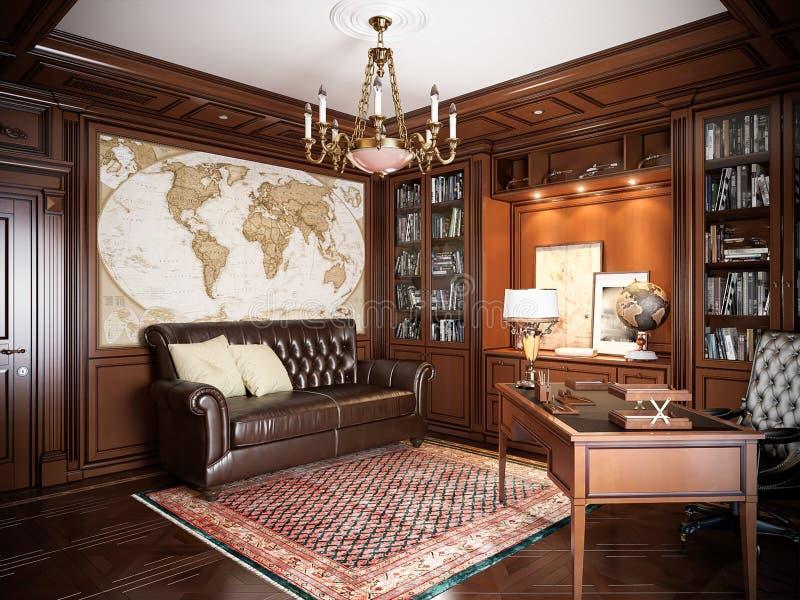 Het binnenlandse ontwerp van het huisbureau in klassieke stijl stock fotografie