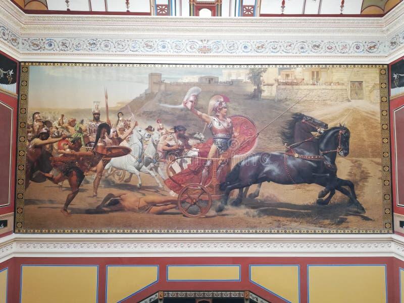 Het binnenlandse schilderen in Sissi-paleis royalty-vrije stock foto's
