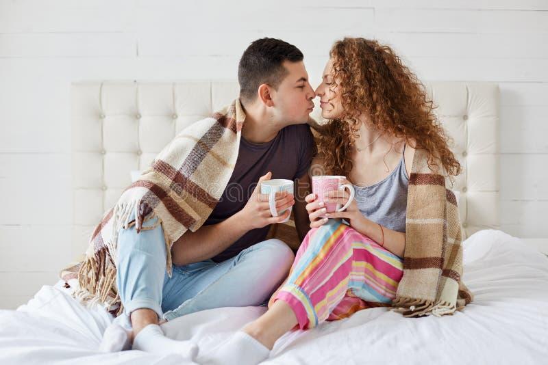 Het binnenschot van gelukkig wijfje en het mannetje hebben romantische die verhoudingen, drinken koffie of thee, met plaid in sla royalty-vrije stock foto's