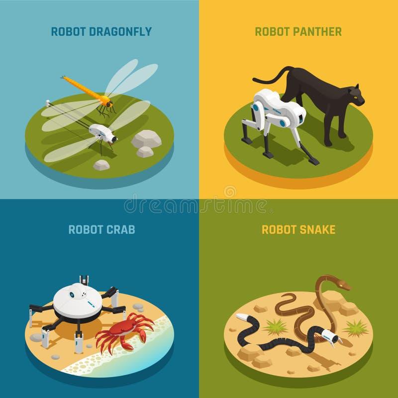 Het bioconcept van het Robots Isometrische Ontwerp royalty-vrije illustratie