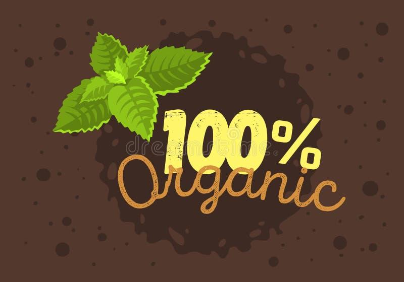 Het biologisch productetiket Logo Design With een Munt verlaat Illustratio stock illustratie