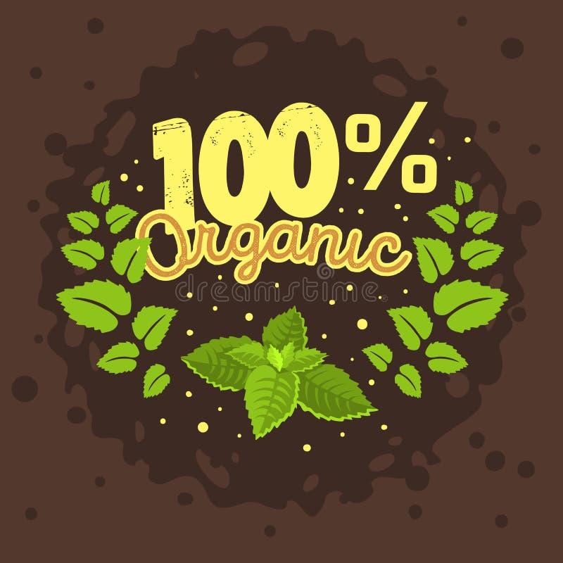 Het biologisch productetiket Logo Design With een Munt verlaat Kroon Illu stock illustratie