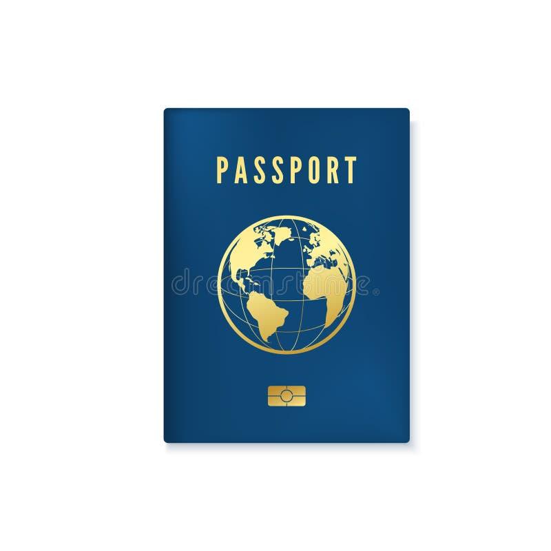 Het biometrische blauwe malplaatje van de paspoortdekking Identiteitsdocument met digitale identiteitskaart Vector illustratie di stock illustratie