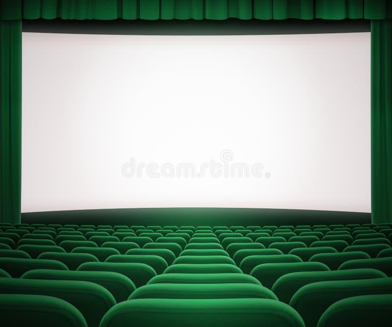 Het bioskoopscherm met open groene gordijn en zetels royalty-vrije stock afbeeldingen