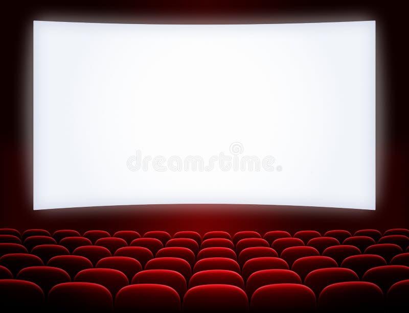 Het bioskoopscherm met zetels stock foto