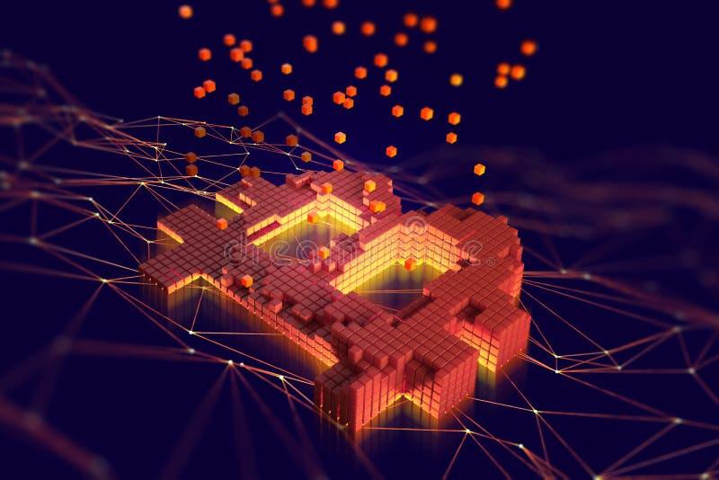Het Bitcoinsymbool die uit afzonderlijke vlammende blokken bestaan wordt gevestigd op de achtergrond van een veelhoekig netwerk F stock illustratie