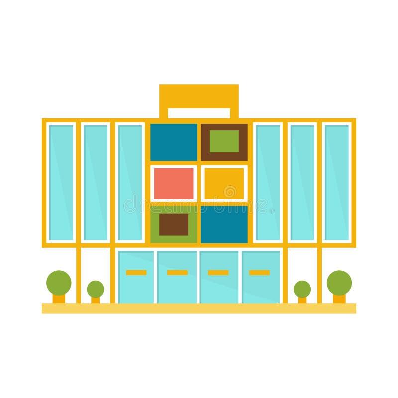 Het bizarre het Winkelcomplex van Minimalistic Kleurrijke Moderne het Projectmalplaatje van het de Bouw Buitenontwerp isoleerde V royalty-vrije illustratie