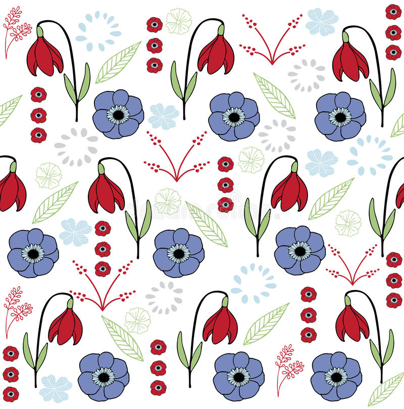 Het blad & de bloem plaatsen kleurrijke 4 stock illustratie