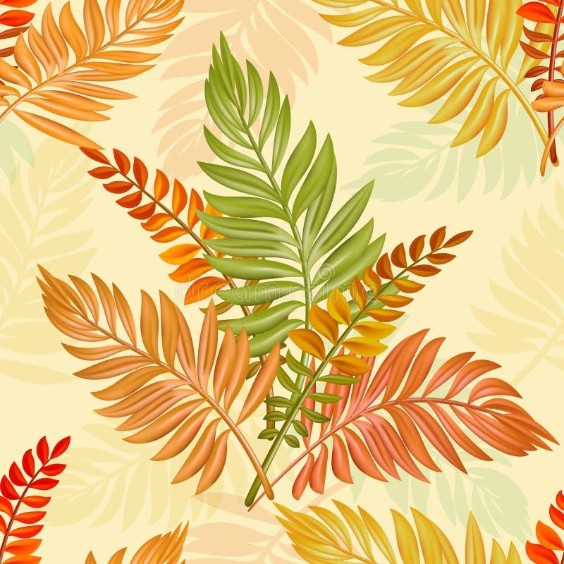 Het blad naadloos patroon van de herfst De textuur van dalingsbladeren Het seizoengebonden malplaatje van de Webbanner met bladpa stock illustratie