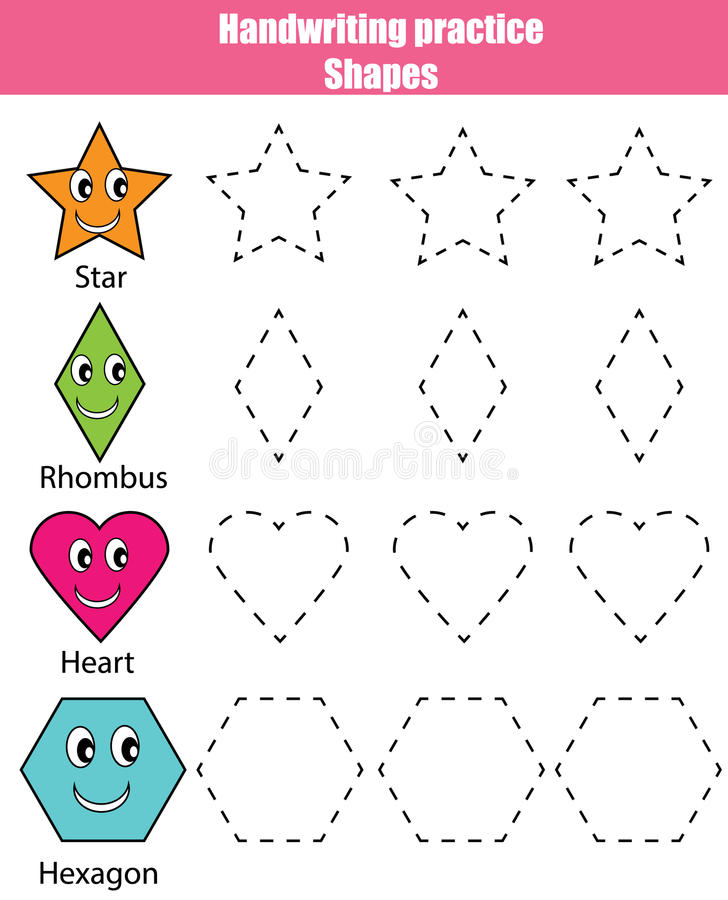 Het blad van de handschriftpraktijk Onderwijskinderenspel, jonge geitjesactiviteit Het leren vormen, voor het drukken geschikt aa vector illustratie