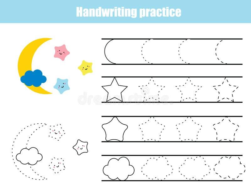 Het blad van de handschriftpraktijk Onderwijskinderenspel, voor het drukken geschikt aantekenvel voor jonge geitjes Schrijvend op royalty-vrije illustratie