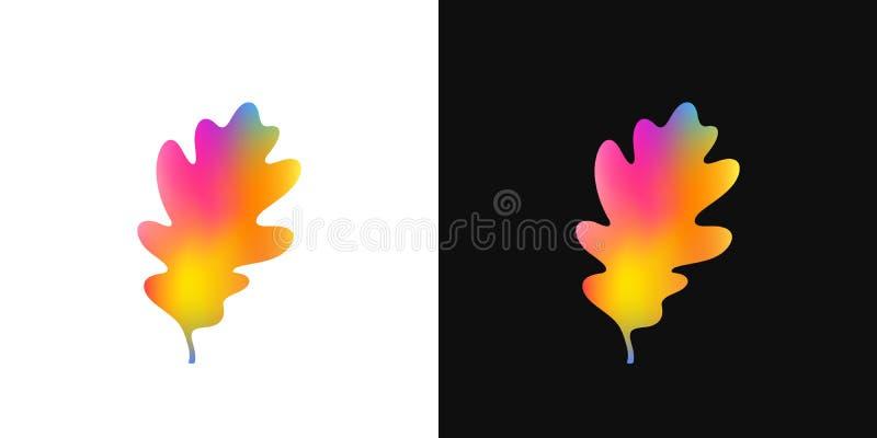 Het blad van de herfst De grootte van het beeld XXXL Helder eiken blad op witte en zwarte achtergrond vector illustratie