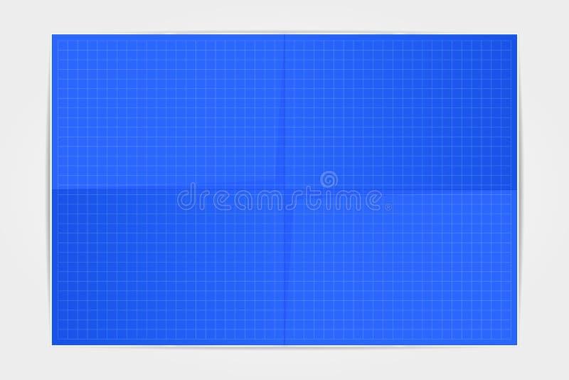 Het blad van de malplaatjeblauwdruk van document in vier op een witte rug wordt gevouwen die royalty-vrije stock fotografie