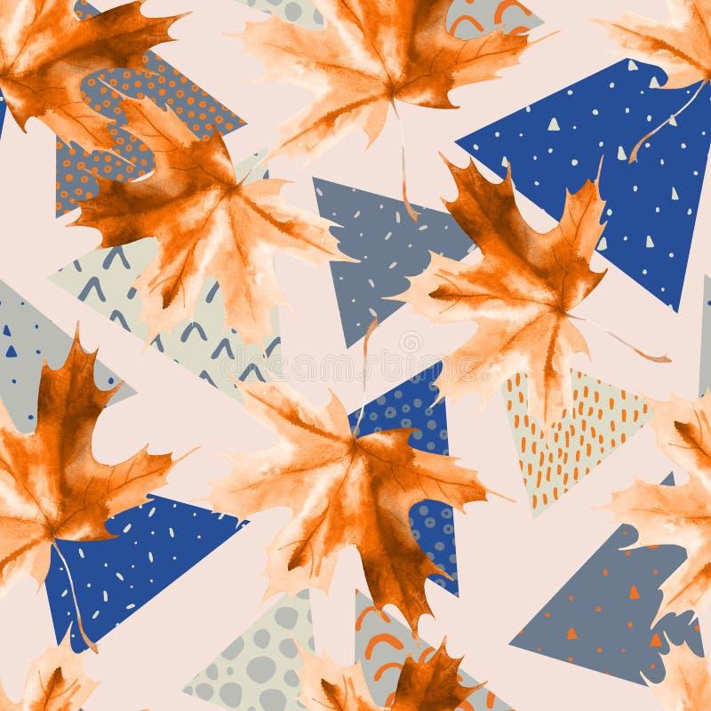 Het blad van de waterverfesdoorn, driehoeken met minimaal, grunge texturen stock illustratie