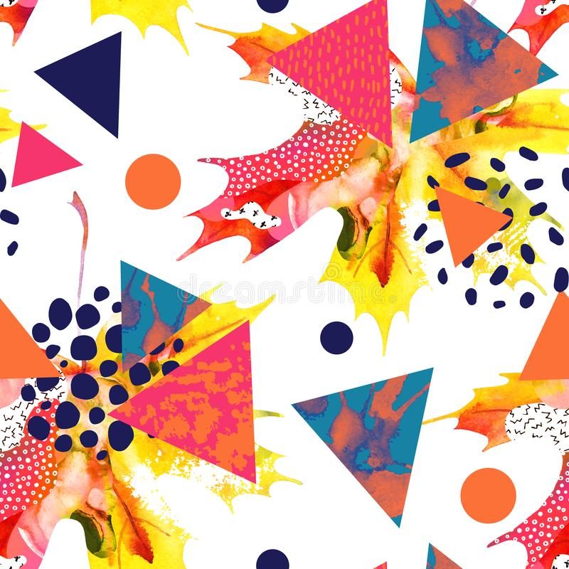 Het blad van de waterverfesdoorn, driehoeken met minimaal, grunge texturen, plonsen stock illustratie