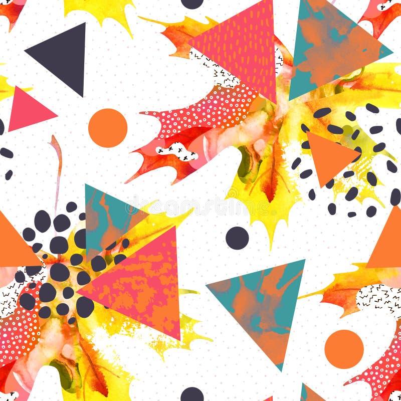 Het blad van de waterverfesdoorn, driehoeken met minimaal, grunge texturen, plonsen vector illustratie