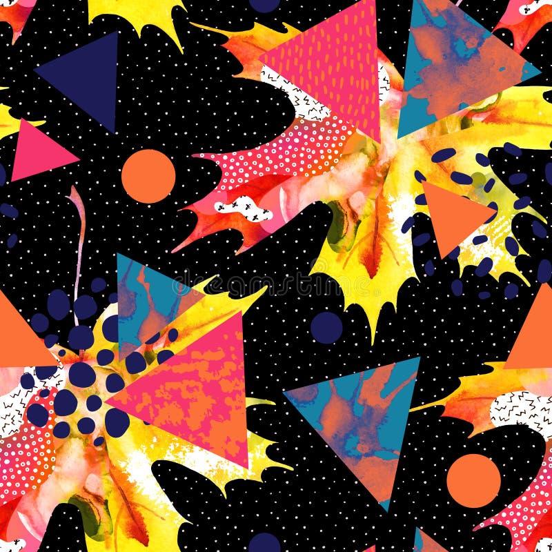 Het blad van de waterverfesdoorn, driehoeken met minimaal, grunge texturen, plonsen royalty-vrije illustratie