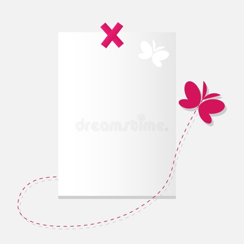 Het blad van document en vlinder. stock afbeelding