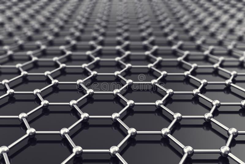 Het blad van Graphenenanostructure bij atoomschaal 3D Illustratie stock illustratie
