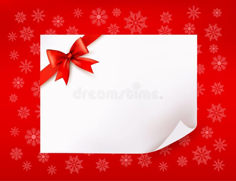 Het blad van Kerstmis van document en rode boog stock illustratie