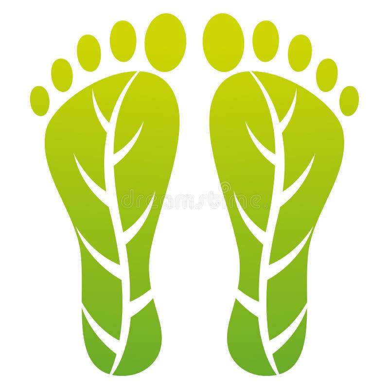 Het bladaf:drukken van de voet vector illustratie