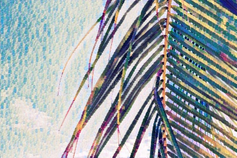 Het bladclose-up van de Cocopalm op hemelachtergrond Palmblad op langzaam verdwenen hemel Het tropische vakantie digitale schilde royalty-vrije stock afbeelding
