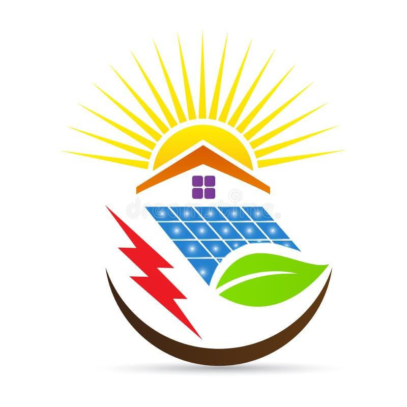 Het bladembleem van de zonnemachts alternatieve energie stock illustratie