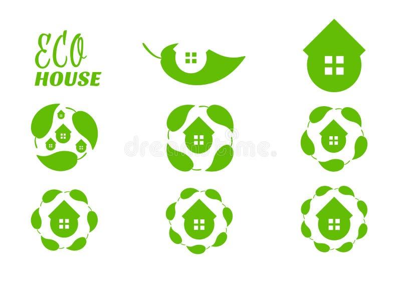 Het bladembleem van het Ecohuis Vorm van de pictogram de vastgestelde cirkel Gezond levensstijlconcept Symbolen voor onroerende g stock illustratie
