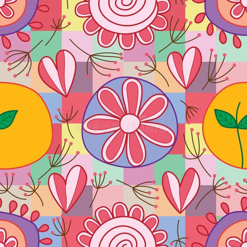 Het bladpaardebloem van de bloemliefde om vierkant stijl naadloos patroon stock illustratie