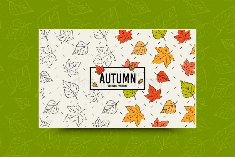 Het bladpatroon van de de herfstesdoorn De daling verlaat naadloos patroon Het seizoengebonden malplaatje van de Webbanner met bl royalty-vrije illustratie
