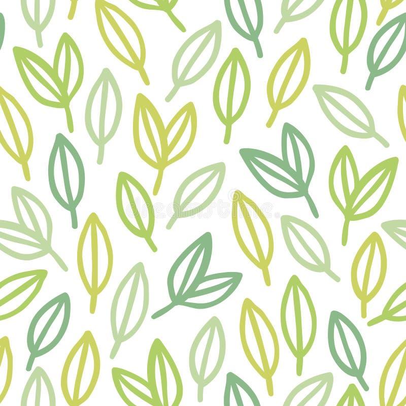 Het bladpatroon van de lijnkunst stock illustratie