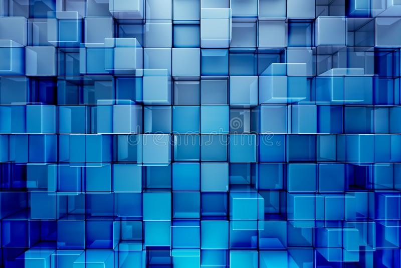 Het blauw blokkeert of kubeert abstracte achtergrond royalty-vrije illustratie