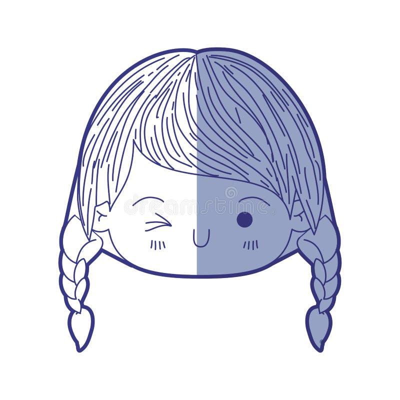 Het blauw die silhouet van kawaii hoofdmeisje in de schaduw stellen met gevlecht haar en gelaatsuitdrukking knipoogt oog royalty-vrije illustratie