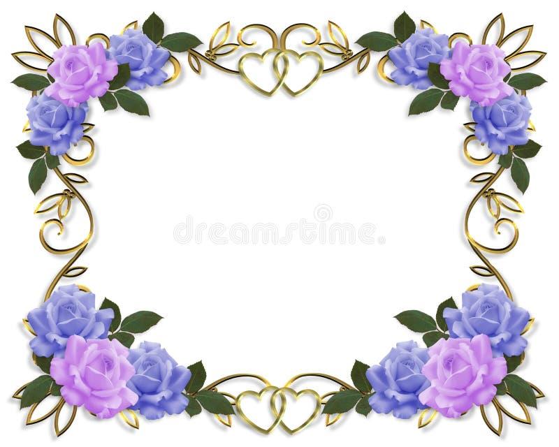 Het Blauw en de Lavendel van de Grens van de Rozen van het huwelijk vector illustratie