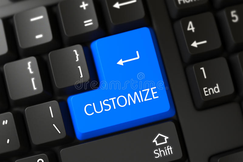 Het blauw past Sleutel op Toetsenbord aan 3d royalty-vrije stock afbeeldingen