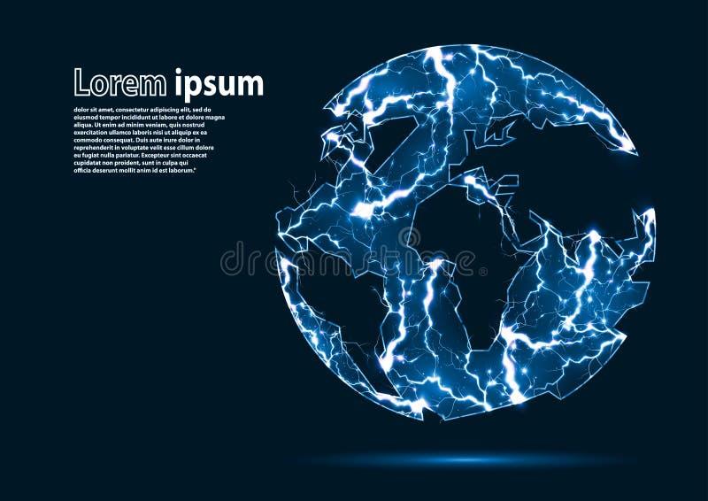 Het blauw schittert beeld van een aarde door bliksem wordt gevormd die vector illustratie