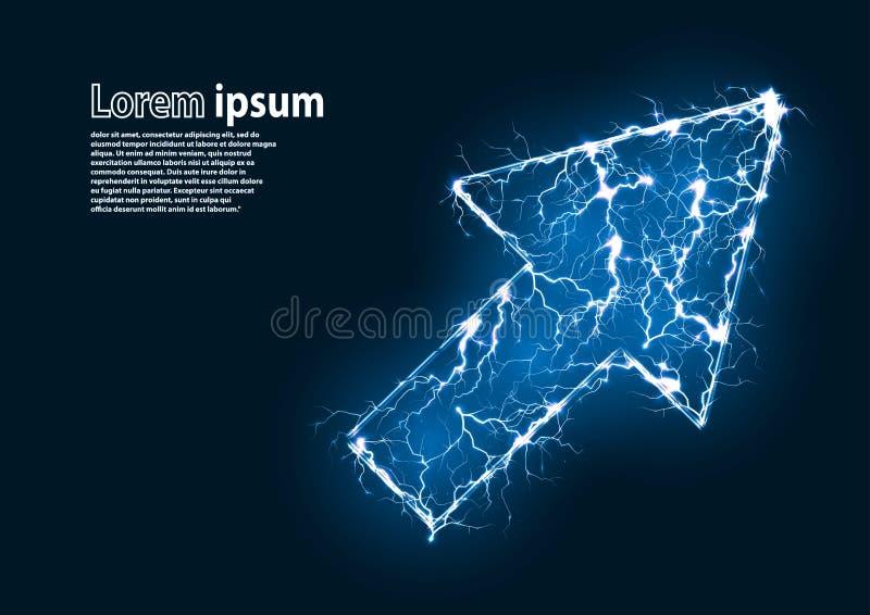 Het blauw schittert beeld van een curseur door bliksem wordt gevormd die stock illustratie