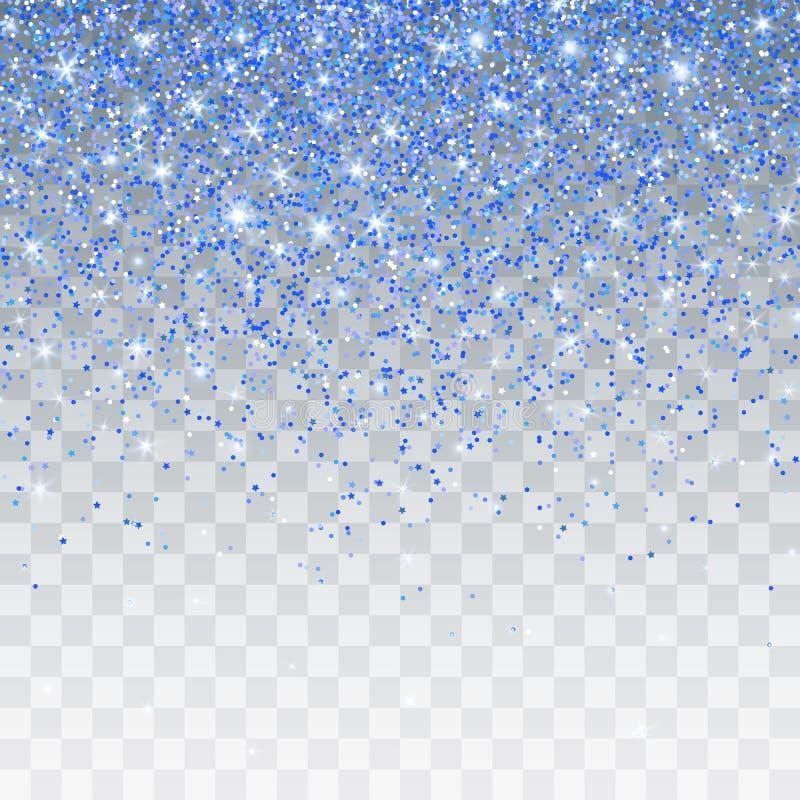 Het blauw schittert fonkeling op een transparante achtergrond De trillende achtergrond met fonkelt lichten Vector illustratie royalty-vrije illustratie