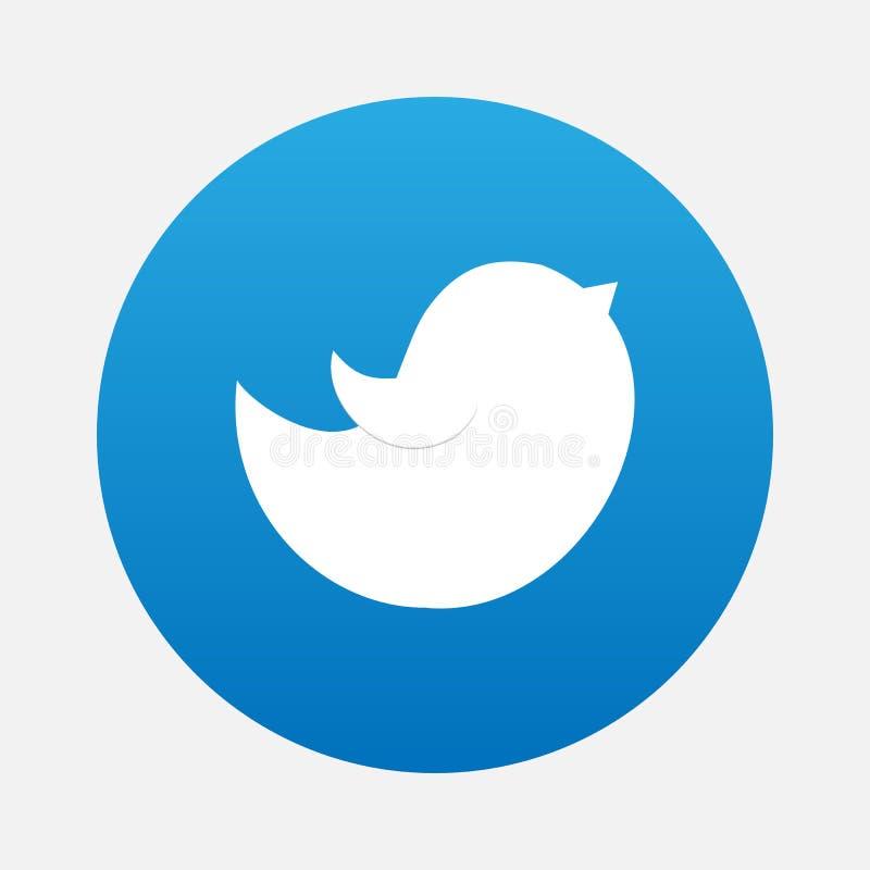 Het blauw tjirpt Vogel Vectorembleem, JPG, JPEG, EPS Twitter-Pictogramknoop Het vlakke Sociale Media Teken van Twiter royalty-vrije illustratie