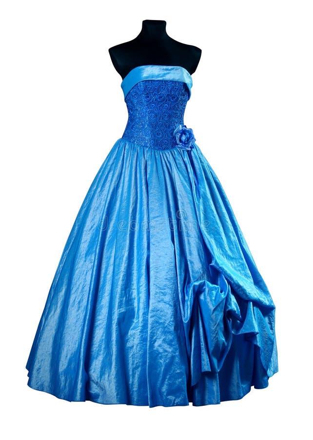 Het Blauw van de avondjurk royalty-vrije stock afbeelding