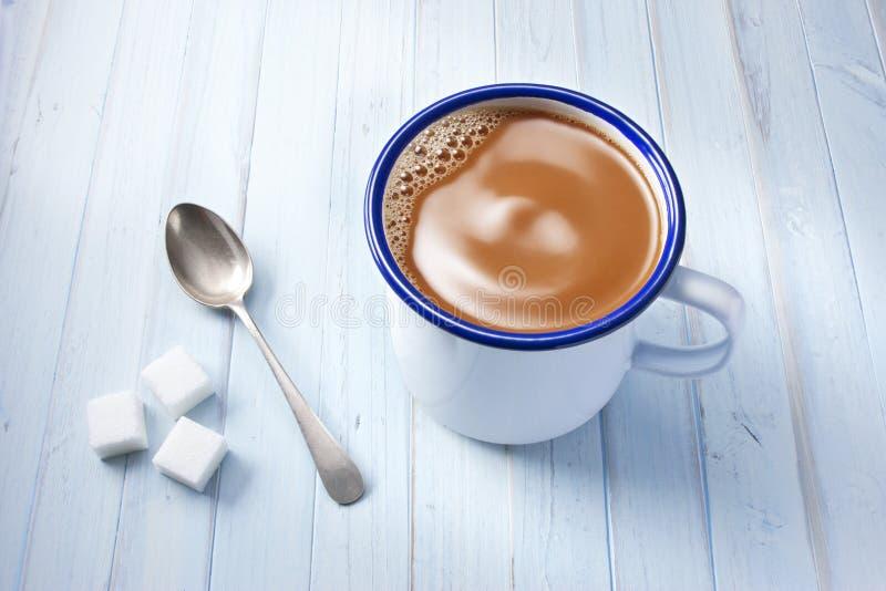 Het Blauw van de kopkoffie stock foto's